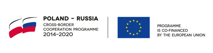 Flaga Polski i Rosji z napisem Poland - Russia Cross-Border Cooperation Programme 2014-2020, flaga Unii Europejskiej z napisem Programme is co-financed by the European Union