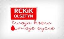Logo akcji Regionalnego Centrum Krwiodawstwa i Krwiolecznictwa w Olsztynie  z napisem Twoja krew moje życie
