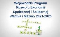 Krzyżówka z ludzikiem i hasłami: ekonomia, społeczna, Warmia, Mazury oraz napis: Wojewódzki Program Rozwoju Ekonomii Społecznej i Solidarnej Warmia i Mazury 2021-2025