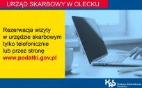 Zdjęcie laptopa z napisem: Urząd Skarbowy w Olecku, rezerwacja wizyty w urzędzie skarbowym tylko telefonicznie lub przez stronę www.podatki.gov.pl, Krajowa Administracja Skarbowa
