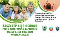 """Plakat """"Programu polityki zdrowotnej w zakresie szczepień ochronnych przeciw kleszczowemu zapaleniu mózgu dla mieszkańców powiatu oleckiego na lata 2018-2022"""""""