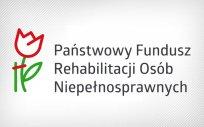 Logo PFRON, tj. kwiat z podporą z napisem Państwowy Fundusz Rehabilitacji Osób Niepełnosprawnych