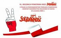Grafika obchodów 41. rocznicy powstania NSZZ Solidarność i strajku w Przedsiębiorstwie Produkcji Pomocniczej i Montaży Budownictwa Rolniczego w Olecku, 12.09.2021 r.